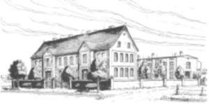 Altes und neues Schulgebäude an der Heßlerstraße 172 und 174